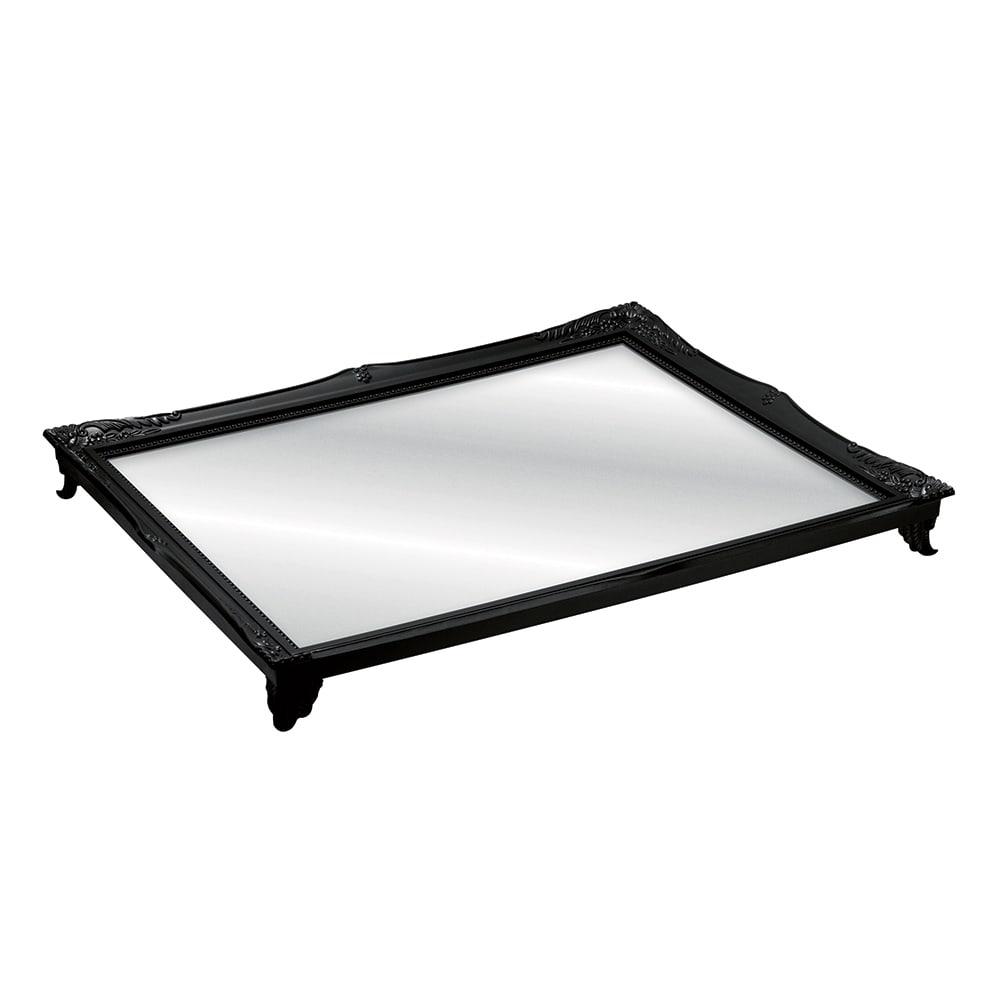 Bandeja Alta Gradient Preta com Fundo Espelhado - 25x20 cm
