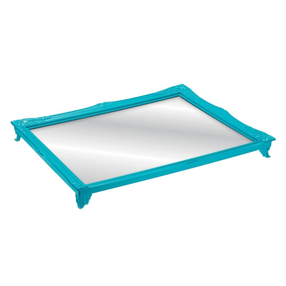 Bandeja Alta Gradient Turquesa com Fundo Espelhado - 25x20 cm