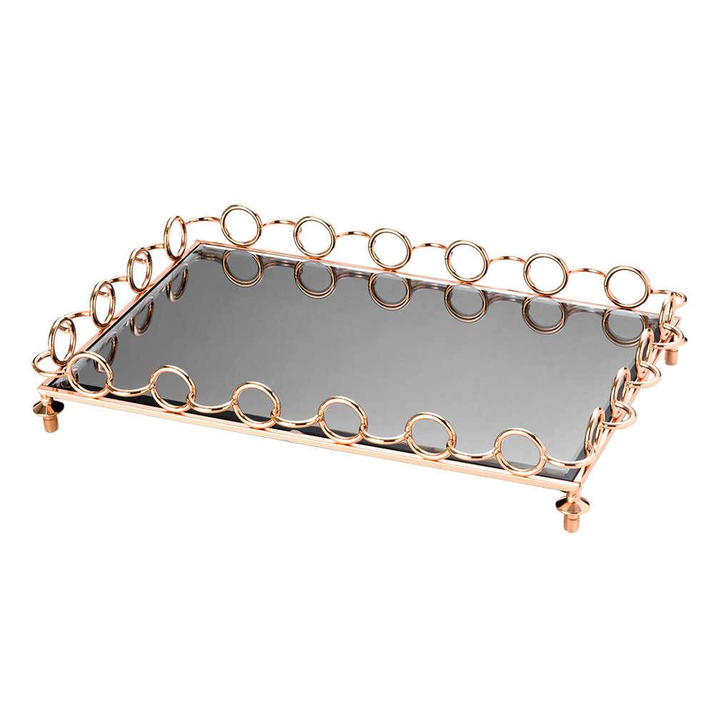 Bandeja Anéis Acobreados em Zamac c/ Fundo Espelhado e Pezinhos - Lyor Design - 52x38 cm