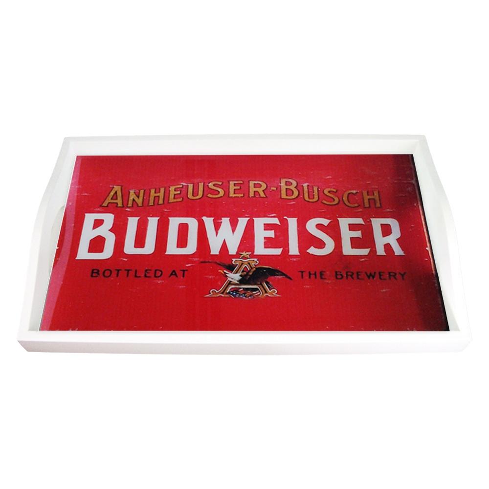 Bandeja Antique Budweiser Vermelho Pequena em MDF - 32x19,5 cm