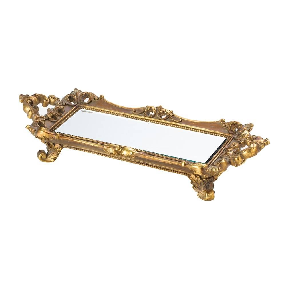 Bandeja Antique Dourada em Resina c/ Fundo Espelhado - Lyor Classic - 42x16 cm