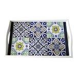 Bandeja Azulejos Média em MDF e Fundo de Vidro - 38x24 cm
