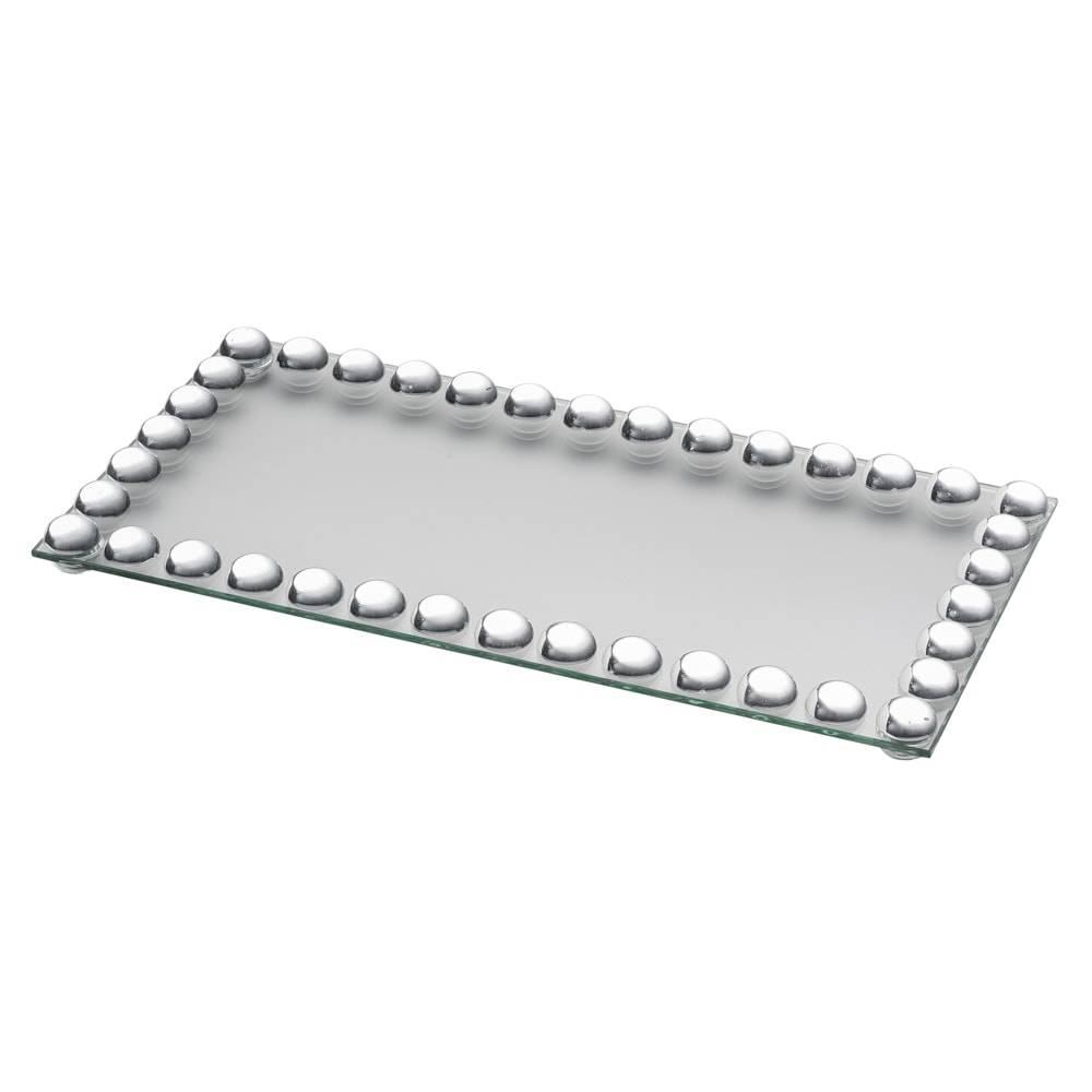Bandeja para Banheiro Glam em Vidro c/ Acabamento em Acrílico - Lyor Classic - 32x16 cm