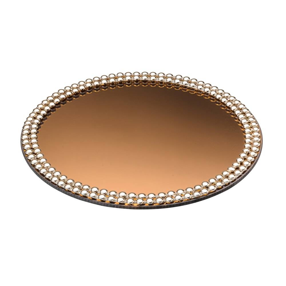 Bandeja para Banheiro Luxo Espelhada em Vidro Dourado c/ Acabamento em Acrílico - Lyor Classic - 20 cm