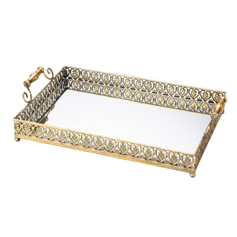 Bandeja Belle em Ferro Fundido c/ Fundo Espelhado, Alças e Pezinhos - Lyor Classic - 55x32 cm