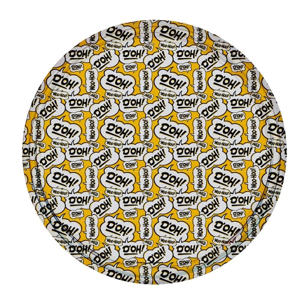 Bandeja Bordões de Homer Simpson Amarela em Metal - 30x2,5 cm