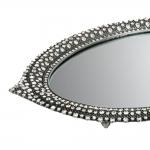 Bandeja Borgonha Oval Prata em Liga de Zinco e Estanho - 34x24 cm