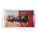 Bandeja Budweiser Clydesdales Pequena em MDF e Fundo de Vidro - 32x20 cm