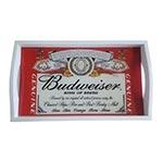 Bandeja Budweiser King Of Beers Pequena em MDF e Fundo de Vidro - 32x20 cm
