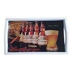 Bandeja Budweiser Since 1876 Média em MDF e Fundo de Vidro - 38x24 cm