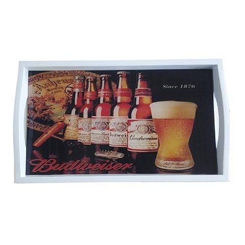 Bandeja Budweiser Since 1876 Pequena em MDF e Fundo de Vidro - 32x20 cm