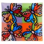 Bandeja Butterflies - Romero Britto - em Vidro - 30x25 cm