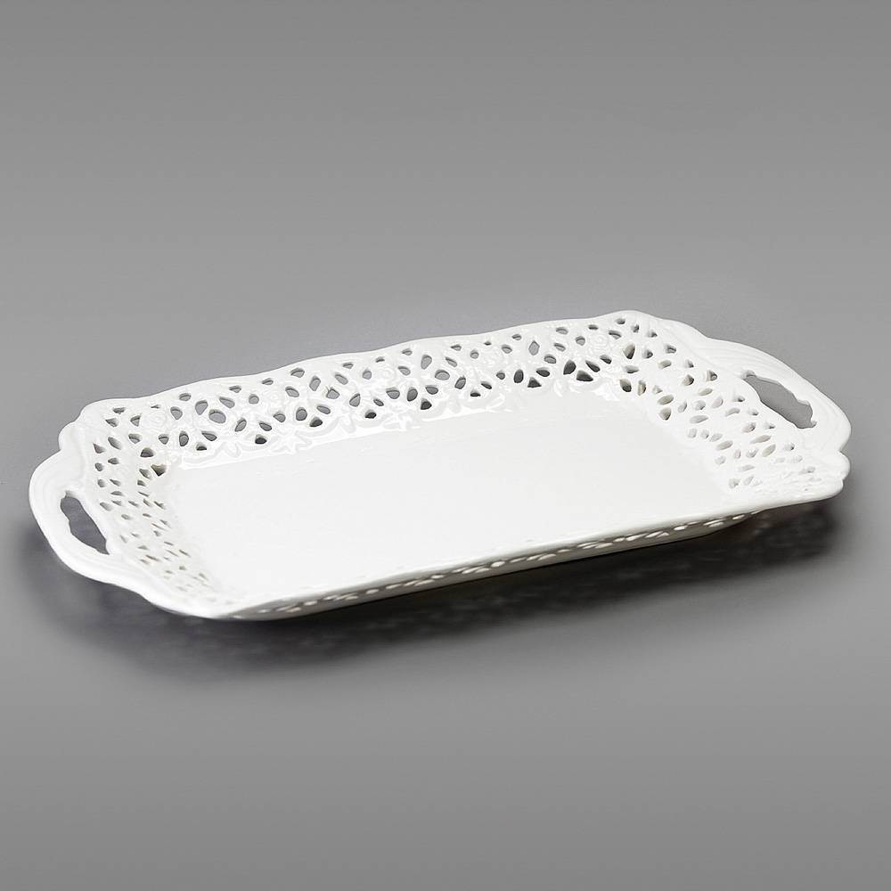 Bandeja Rendada com Alça em Cerâmica - Bon Gourmet - 41x22 cm
