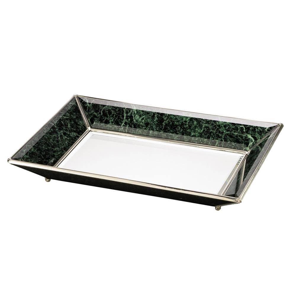 Bandeja c/ Efeito Mármore Verde em Ferro Fundido - Lyor Classic - 44x24 cm