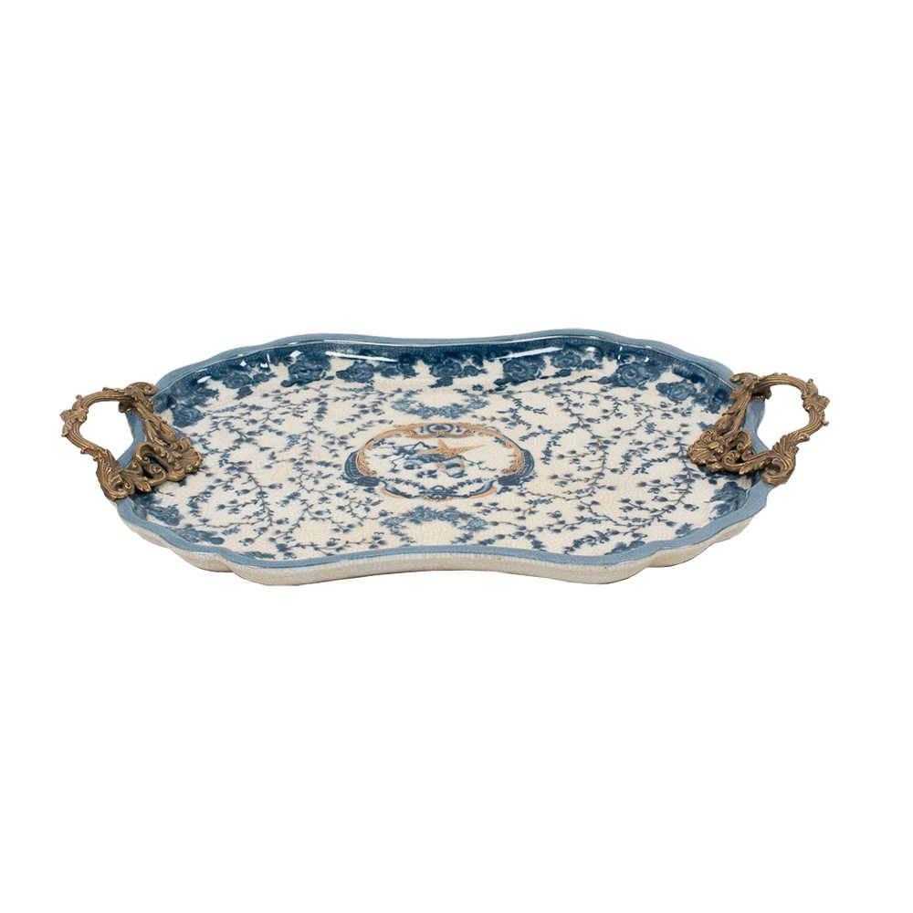Bandeja Cambui Grande Azul e Branca em Porcelana - 55x37 cm