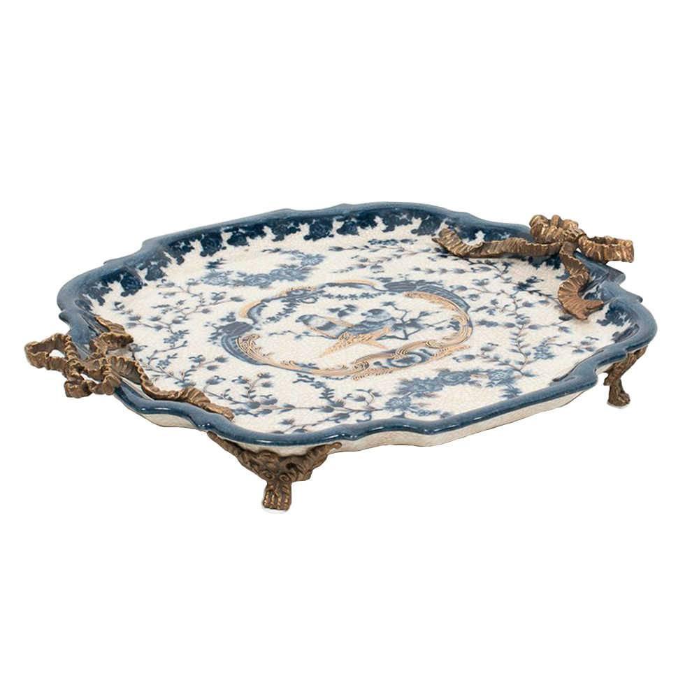 Bandeja Cambui Média Azul e Branca em Porcelana - 33x29 cm