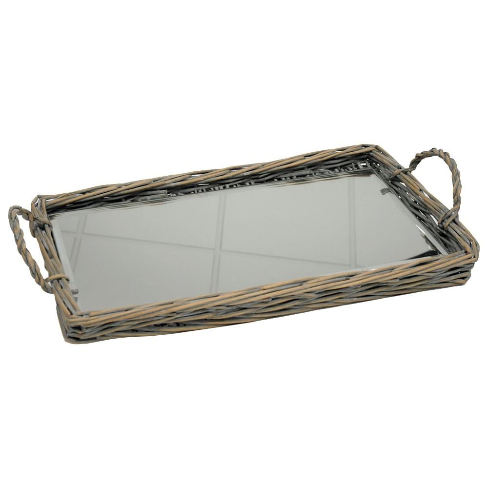 Bandeja Candly Marrom Grande - com Espelho - em Vime - 38x21 cm