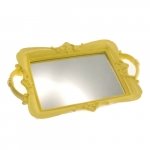 Bandeja Candy Amarela Espelhada em Resina - 30x20 cm