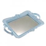 Bandeja Candy Azul Espelhada em Resina - 30x20 cm