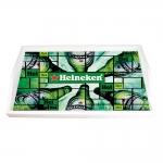 Bandeja Cerveja Hei Hei Heineken Verde Pequena em MDF - 32x19,5 cm