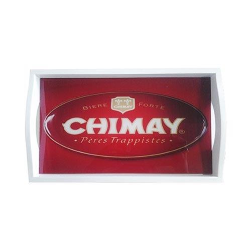 Bandeja Chimay Média em MDF e Fundo de Vidro - 38x24 cm