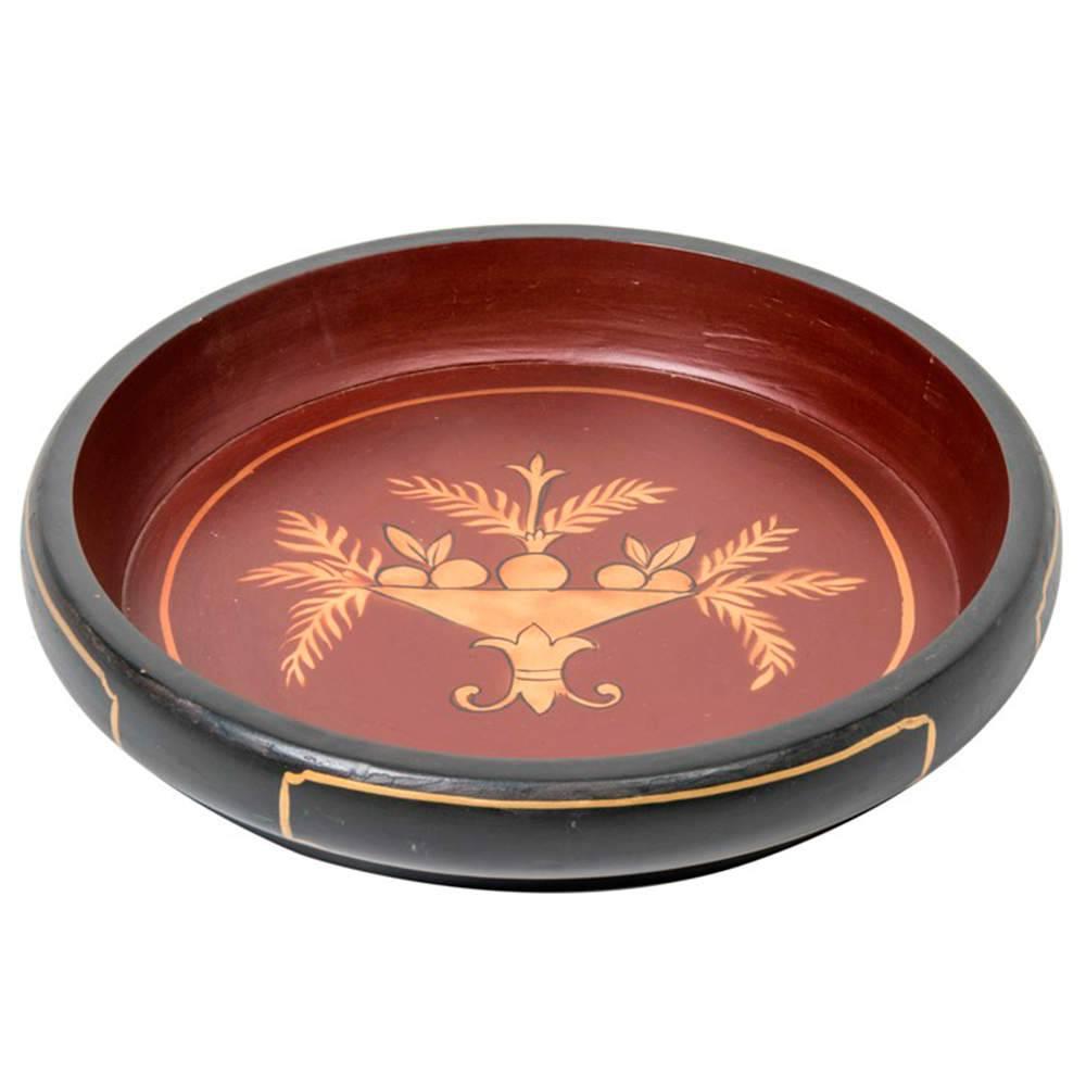 Bandeja Chinesa Grande Preto e Vermelho com Estampa em Madeira - 41x41 cm