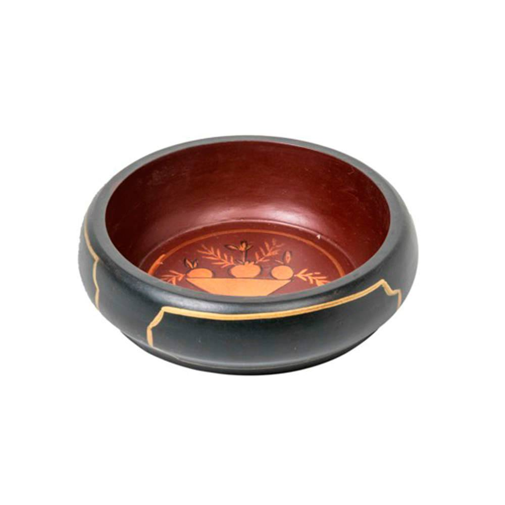 Bandeja Chinesa Pequena Preto e Vermelho com Estampa em Madeira - 21x21 cm
