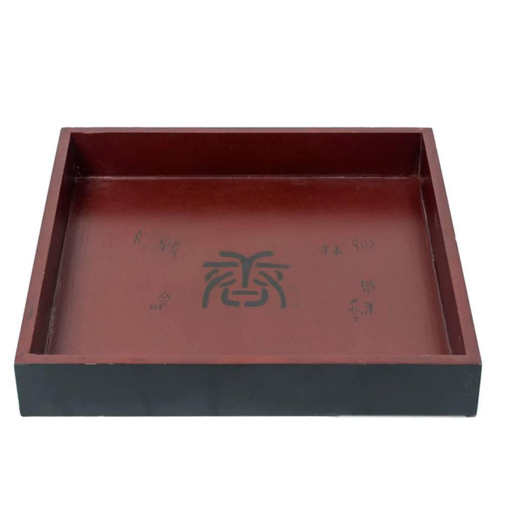 Bandeja Chinesa Quadrada Grande Preto e Vermelho em Madeira - 32x32 cm