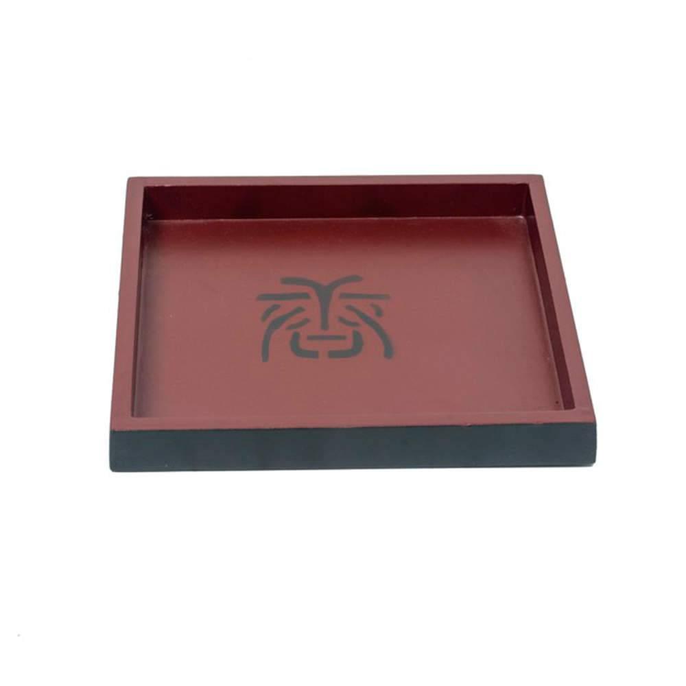 Bandeja Chinesa Quadrada Pequena Preto e Vermelho em Madeira - 22x22 cm