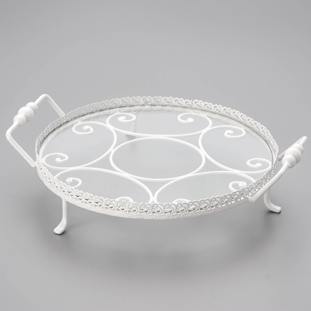 Bandeja Spiron Branca Grande em Metal - Bon Gourmet - 35,5 cm