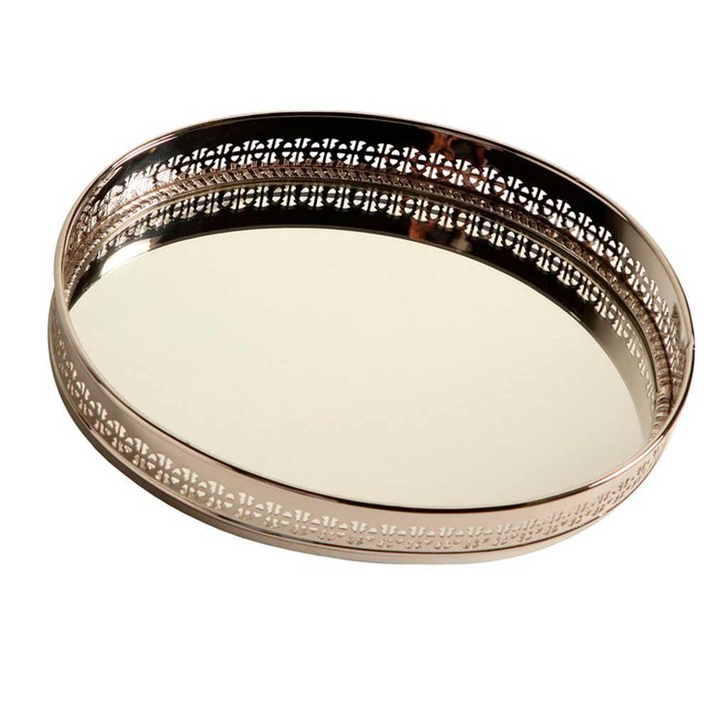 Bandeja Class Oval com Fundo Espelhado em Metal - 31x24 cm