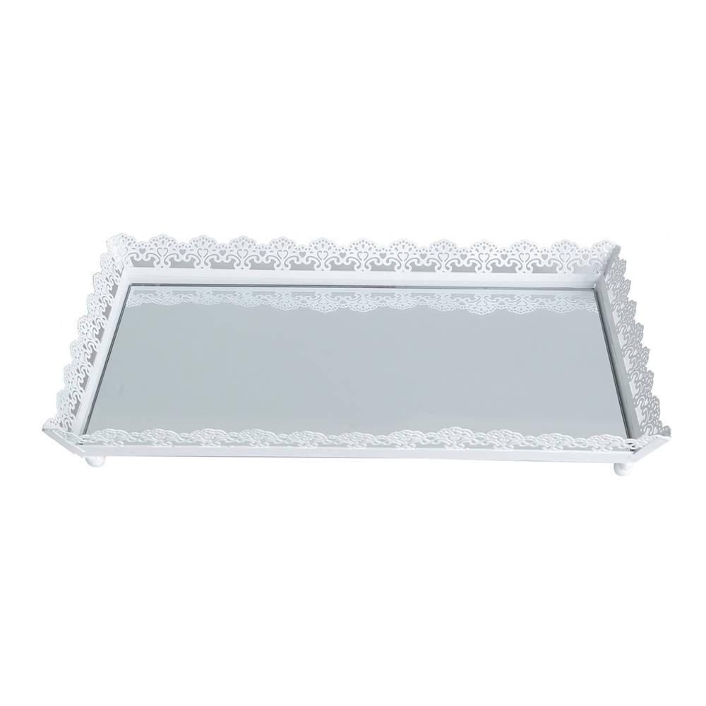 Bandeja Classic Branco - com Fundo Espelhado - em Ferro Fundido - Bon Gourmet - 30x19 cm