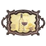 Bandeja Classic Wine Oldway - Madeira e PVC - 72x44 cm