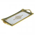 Bandeja Clássica Jade Dourada Grande em Resina - 50x21 cm