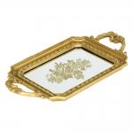 Bandeja Clássica Tachas Dourado em Resina - 39x22,5 cm