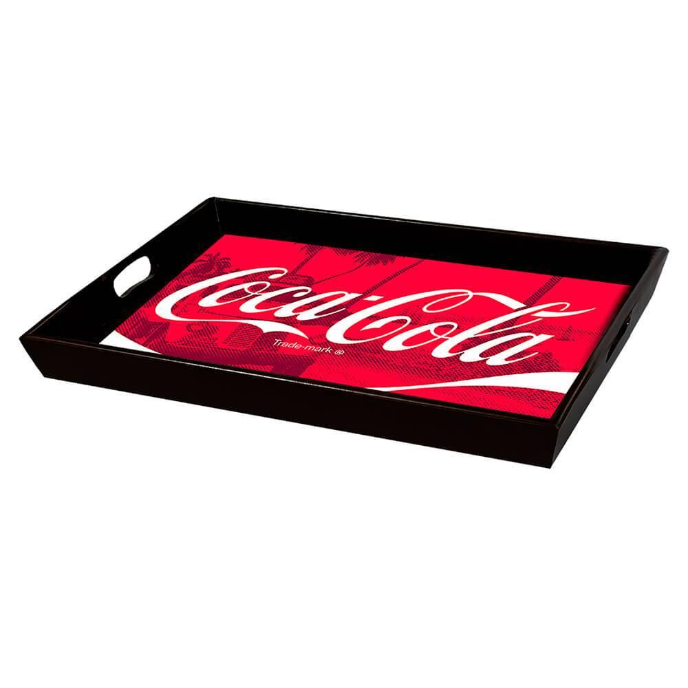 Bandeja Coca-Cola Logo Over Landscape Vermelho em MDF - Urban - 40x30,5 cm