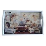 Bandeja Crianças na Vitrine Pequena em MDF e Fundo de Vidro - 32x20 cm