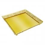 Bandeja Crystal Quadrada Dourado em Metal - 33x33 cm