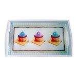Bandeja Cupcakes Chocolate Pequena em MDF e Fundo de Vidro - 32x20 cm