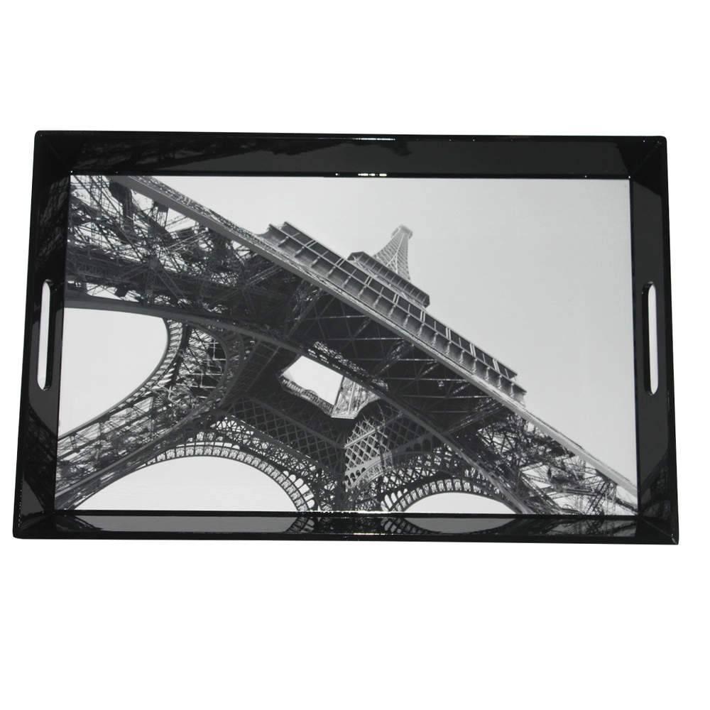 Bandeja Dark Eiffel Tower Preto em MDF - Urban - 46x30,5 cm