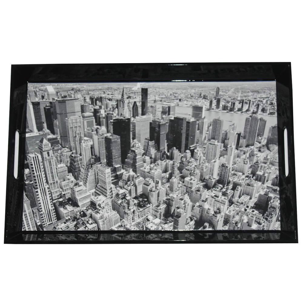 Bandeja Dark New York City Preto em MDF - Urban - 46x30,5 cm