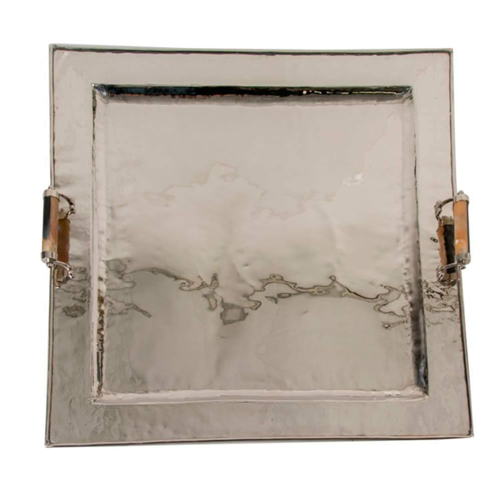Bandeja Dass Grande Prata em Aço Inox com Cabos de Chifre - 103x102 cm