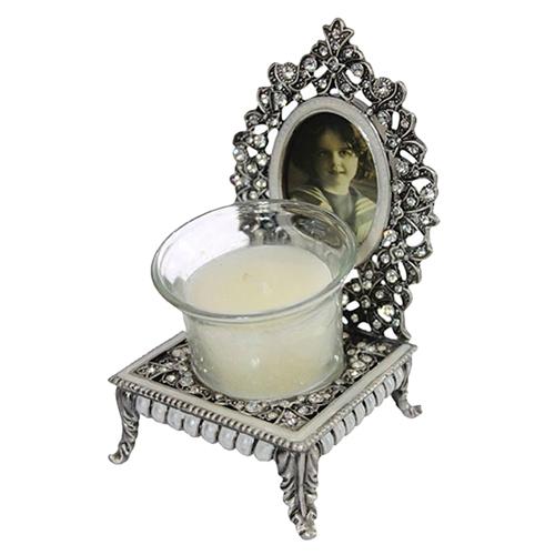 Castiçal Decorativo Diana em Metal - 14x8 cm