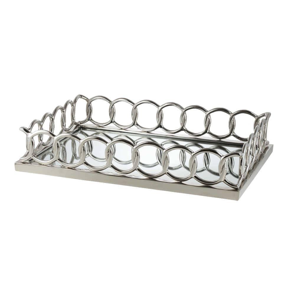 Bandeja Diene Retangular em Alumínio c/ Fundo Espelhado - Lyor Classic - 61x41 cm