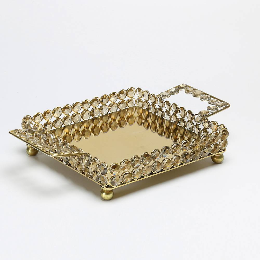 Bandeja Quadrada Delhi Dourada em Cristais e Ferro Fundido - Wolff - 30x20 cm