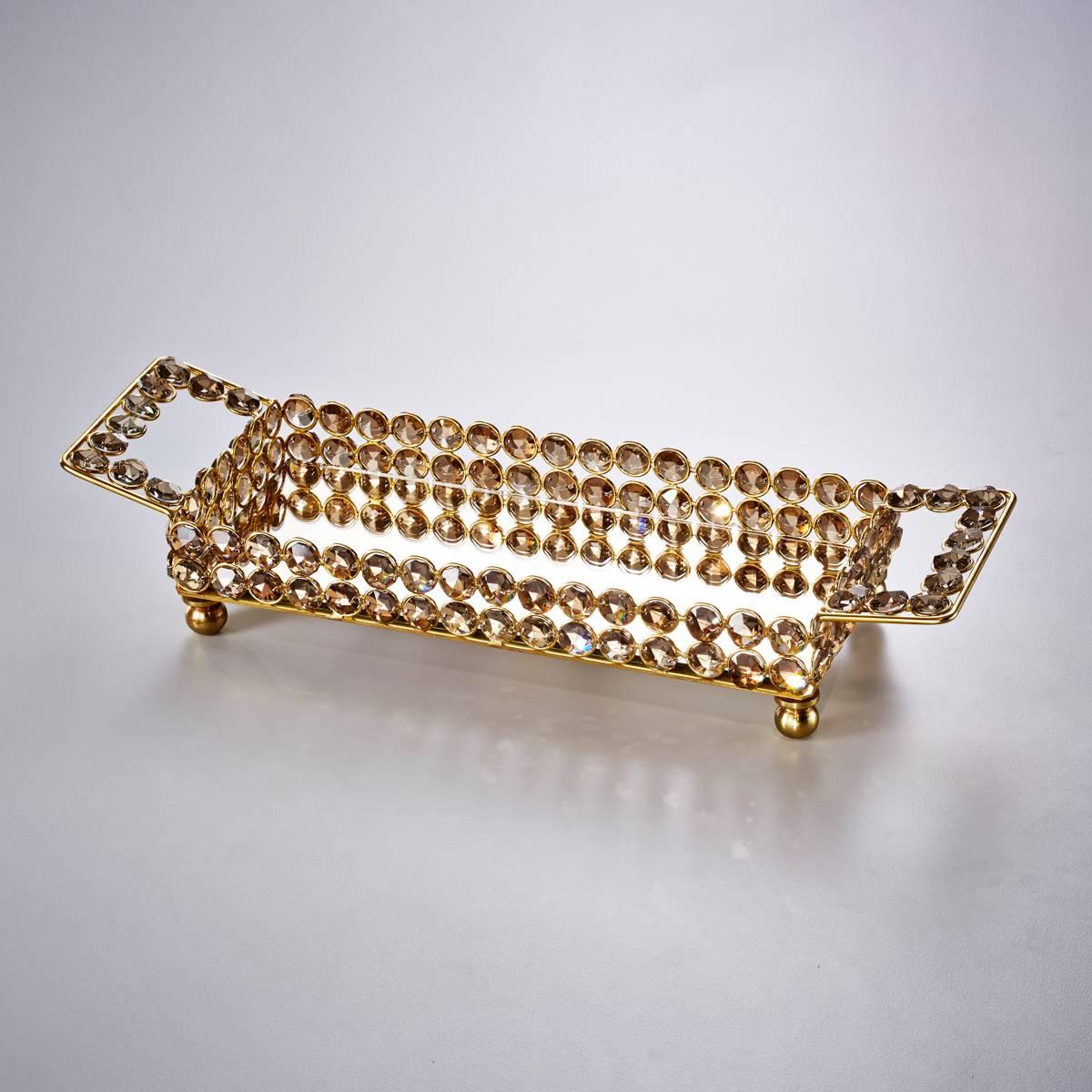 Bandeja Retangular Delhi Dourada Grande em Ferro Fundido - Wolff - 30x20 cm