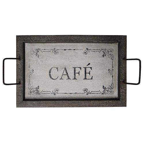 Bandeja Envelhecida Café Oldway - Madeira - 61x34 cm
