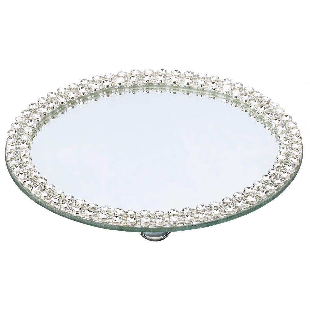 Bandeja Espelhada Média para Banheiro Glamour com Acabamento em Acrílico - Prestige - 25x1 cm