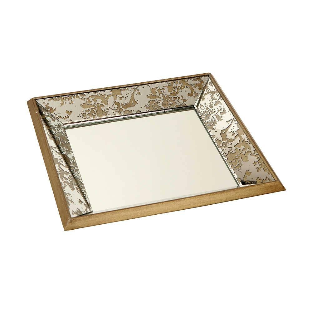 Bandeja Espelhada Narciso Pequena em Madeira - 39x39 cm