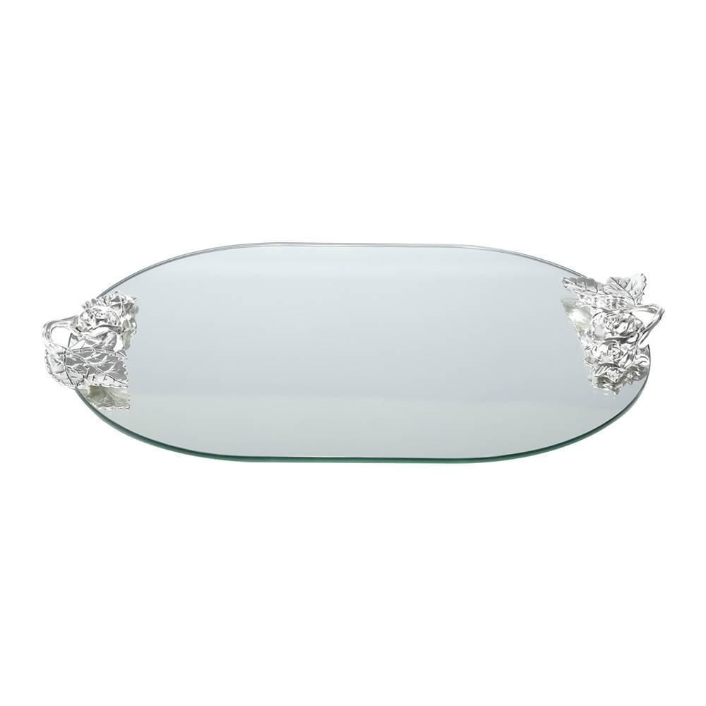 Bandeja Espelhada Roses para Banheiro em Vidro - Prestige - 46x31 cm